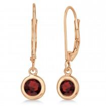 Leverback Dangling Drop Garnet Earrings 14k Rose Gold (1.00ct)