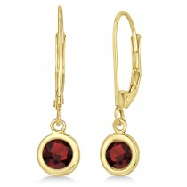 Leverback Dangling Drop Garnet Earrings 14k Yellow Gold (1.00ct)