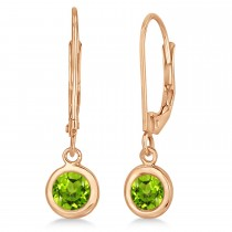 Leverback Dangling Drop Peridot Earrings 14k Rose Gold (1.00ct)