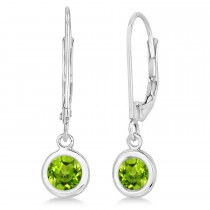 Leverback Dangling Drop Peridot Earrings 14k White Gold (1.00ct)