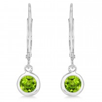 Leverback Dangling Drop Peridot Earrings 14k White Gold (1.00ct)|escape