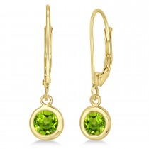 Leverback Dangling Drop Peridot Earrings 14k Yellow Gold (1.00ct)
