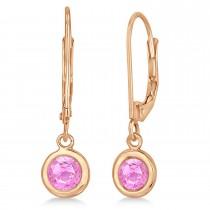 Leverback Dangling Drop Pink Sapphire Earrings 14k Rose Gold (1.00ct)