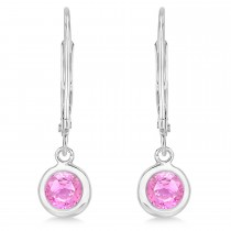 Leverback Dangling Drop Pink Sapphire Earrings 14k White Gold (1.00ct)