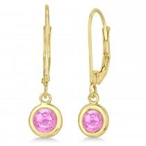 Leverback Dangling Drop Pink Sapphire Earrings 14k Yellow Gold (1.00ct)