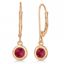 Leverback Dangling Drop Ruby Earrings 14k Rose Gold (1.00ct)