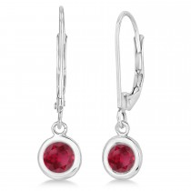 Leverback Dangling Drop Ruby Earrings 14k White Gold (1.00ct)