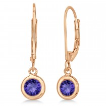 Leverback Dangling Drop Tanzanite Earrings 14k Rose Gold (1.00ct)