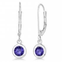 Leverback Dangling Drop Tanzanite Earrings 14k White Gold (1.00ct)