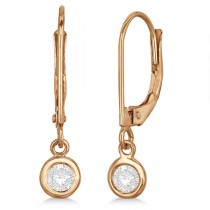 Leverback Dangling Drop Diamond Earrings 14k Rose Gold (0.30ct)