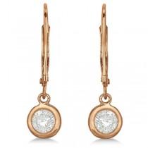Leverback Dangling Drop Diamond Earrings 14k Rose Gold (0.50ct)|escape