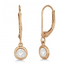 Leverback Dangling Drop Diamond Earrings 14k Rose Gold (1.00ct)
