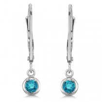 Leverback Dangling Drop Blue Diamond Earrings 14k White Gold (0.20ct)