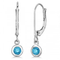 Leverback Dangling Drop Blue Diamond Earrings 14k White Gold (0.30ct)