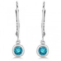 Leverback Dangling Drop Blue Diamond Earrings 14k White Gold (0.40ct)