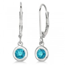 Leverback Dangling Drop Blue Diamond Earrings 14k White Gold (0.50ct)