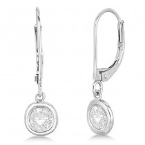 Leverback Dangling Drop Diamond Earrings 14k White Gold (2.00ct)