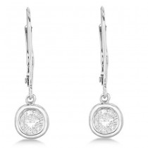 Leverback Dangling Drop Diamond Earrings 14k White Gold (2.00ct)|escape
