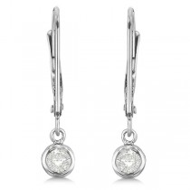 Leverback Dangling Drop Diamond Earrings 14k White Gold (0.20ct)