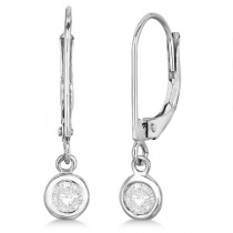 Leverback Dangling Drop Diamond Earrings 14k White Gold (0.30ct)