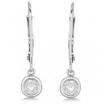 Leverback Dangling Drop Diamond Earrings 14k White Gold (0.40ct)