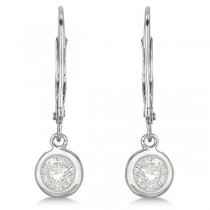 Leverback Dangling Drop Diamond Earrings 14k White Gold (0.50ct)