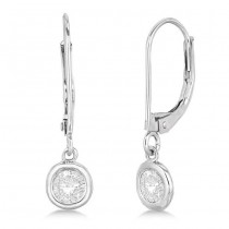 Leverback Dangling Drop Diamond Earrings 14k White Gold (1.00ct)