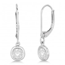 Leverback Dangling Drop Diamond Earrings 14k White Gold (1.50ct)