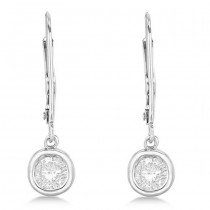 Leverback Dangling Drop Diamond Earrings 14k White Gold (1.50ct)|escape