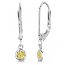 Leverback Dangling Drop Yellow Diamond Earrings 14k White Gold (0.20ct)