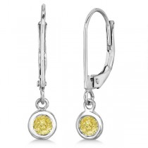 Leverback Dangling Drop Yellow Diamond Earrings 14k White Gold (0.30ct)