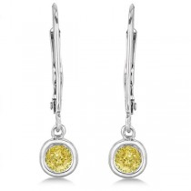 Leverback Dangling Drop Yellow Diamond Earrings 14k White Gold (0.40ct)
