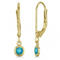 Leverback Dangling Drop Blue Diamond Earrings 14k Yellow Gold (0.20ct)