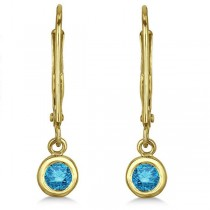 Leverback Dangling Drop Blue Diamond Earrings 14k Yellow Gold (0.30ct)|escape