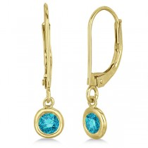 Leverback Dangling Drop Blue Diamond Earrings 14k Yellow Gold (0.40ct)