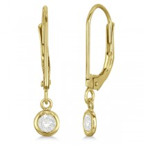Leverback Dangling Drop Diamond Earrings 14k Yellow Gold (0.20ct)
