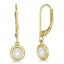 Leverback Dangling Drop Diamond Earrings 14k Yellow Gold (2.00ct)