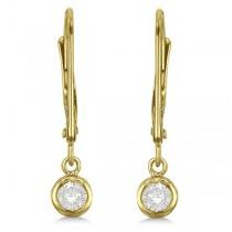 Leverback Dangling Drop Diamond Earrings 14k Yellow Gold (0.20ct)