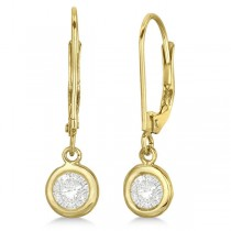 Leverback Dangling Drop Diamond Earrings 14k Yellow Gold (0.50ct)