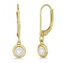 Leverback Dangling Drop Diamond Earrings 14k Yellow Gold (1.00ct)