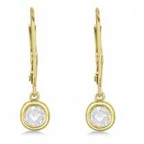 Leverback Dangling Drop Diamond Earrings 14k Yellow Gold (1.00ct)|escape