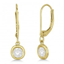 Leverback Dangling Drop Diamond Earrings 14k Yellow Gold (1.50ct)