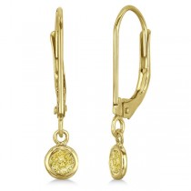 Leverback Dangling Drop Yellow Diamond Earrings 14k Yellow Gold (0.20ct)