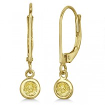 Leverback Dangling Drop Yellow Diamond Earrings 14k Yellow Gold (0.30ct)