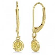 Leverback Dangling Drop Yellow Diamond Earrings 14k Yellow Gold (0.40ct)