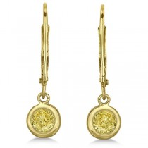 Leverback Dangling Drop Yellow Diamond Earrings 14k Yellow Gold (0.50ct)|escape