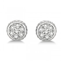 Round Cluster Diamond Earrings 14k White Gold (0.25ct)|escape