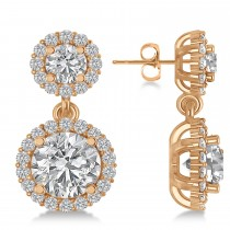 Two Stone Dangling Halo Diamond Earrings 14k Rose Gold (3.00ct)