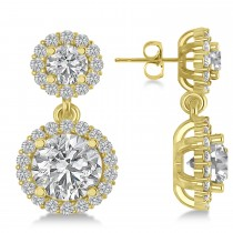 Two Stone Dangling Halo Diamond Earrings 14k Yellow Gold (3.00ct)