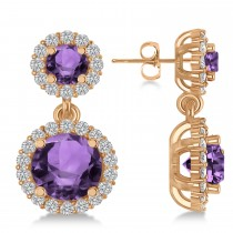 Two Stone Dangling Amethyst & Diamond Earrings 14k Rose Gold (3.00ct)